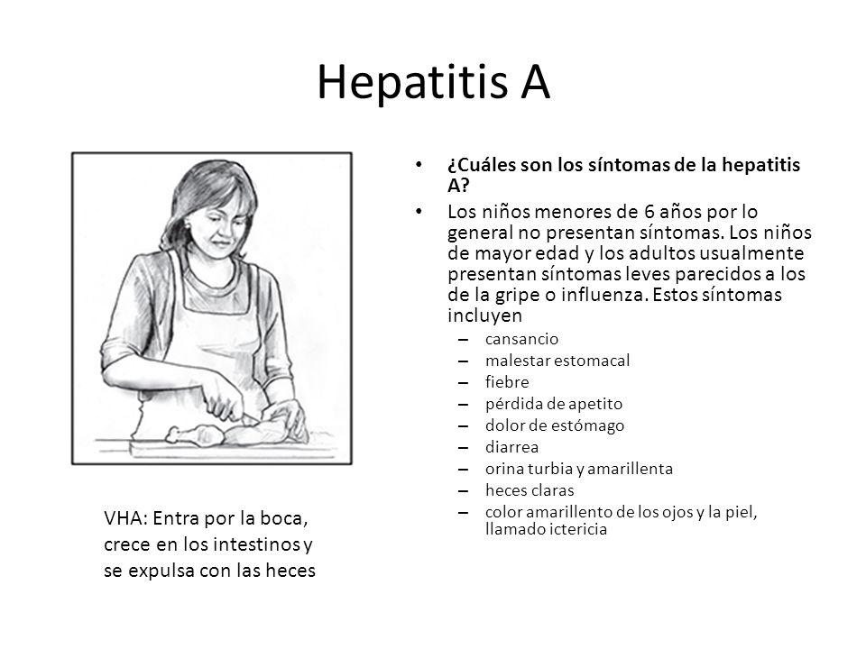 Hepatitis A ¿Cuáles son los síntomas de la hepatitis A? Los niños menores de 6 años por lo general no presentan síntomas. Los niños de mayor edad y lo