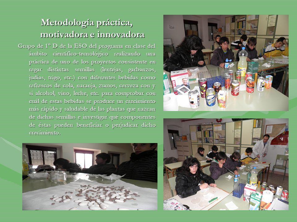 Metodología práctica, motivadora e innovadora Grupo de 1º D de la ESO del programa en clase del ámbito científico-tecnológico realizando una práctica