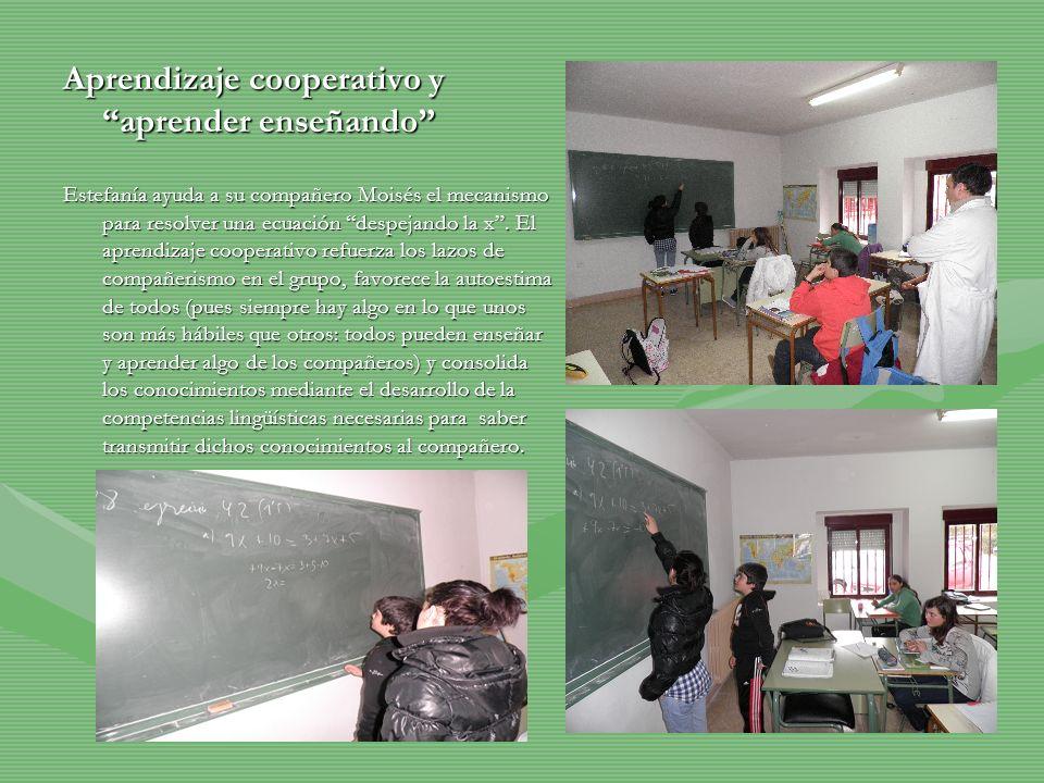 Aprendizaje cooperativo y aprender enseñando Estefanía ayuda a su compañero Moisés el mecanismo para resolver una ecuación despejando la x. El aprendi