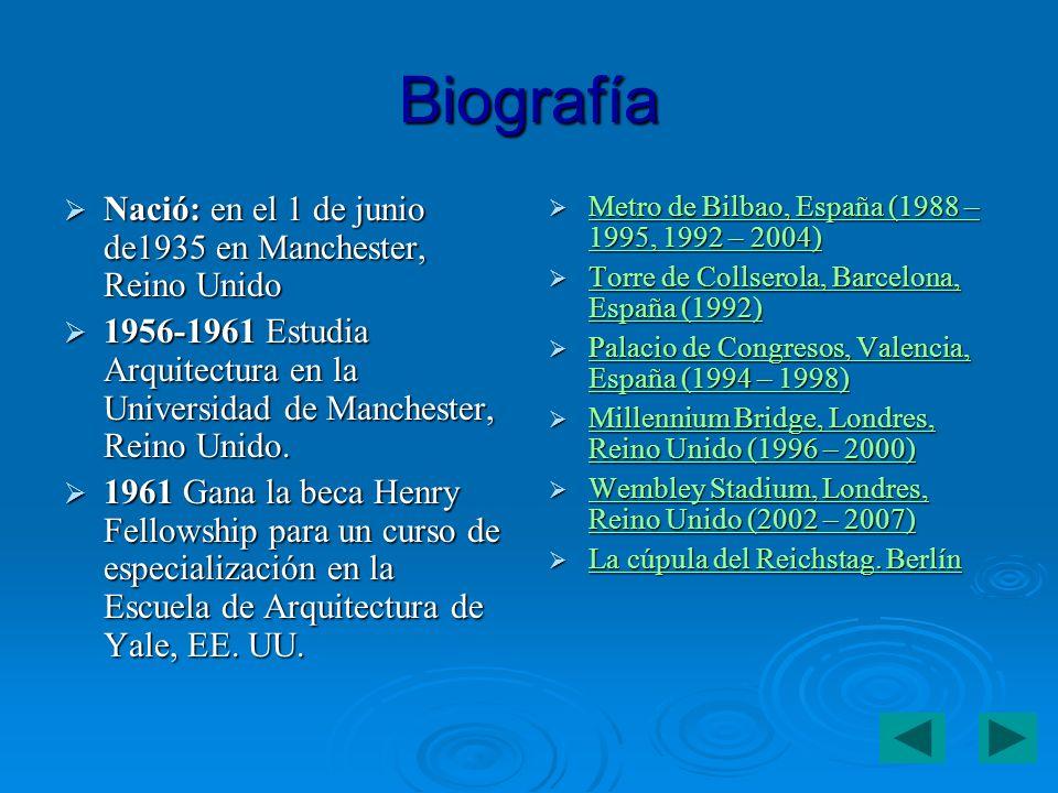 Biografía Nació: en el 1 de junio de1935 en Manchester, Reino Unido Nació: en el 1 de junio de1935 en Manchester, Reino Unido 1956-1961 Estudia Arquitectura en la Universidad de Manchester, Reino Unido.