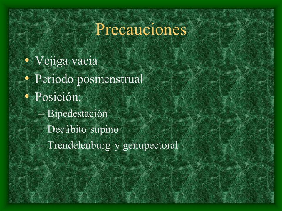 Precauciones Vejiga vacia Periodo posmenstrual Posición: –Bipedestación –Decúbito supino –Trendelenburg y genupectoral