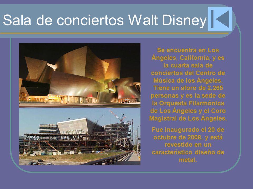 Sala de conciertos Walt Disney Se encuentra en Los Ángeles, California, y es la cuarta sala de conciertos del Centro de Música de los Ángeles. Tiene u