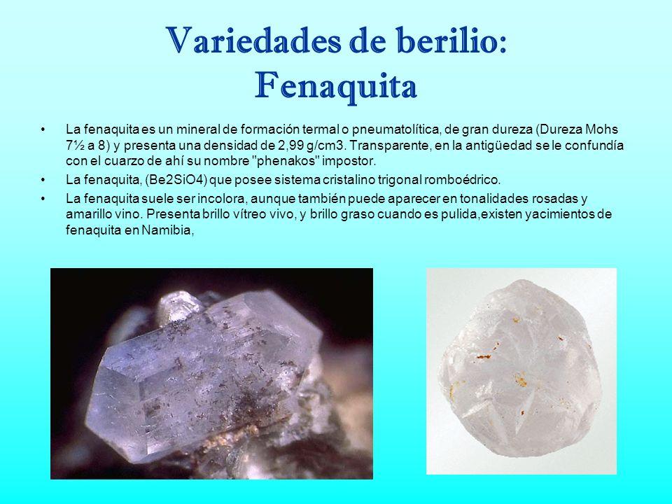 Variedades de berilio: organigrama Berilio FenaquitaBertranditaCrisoberilo: