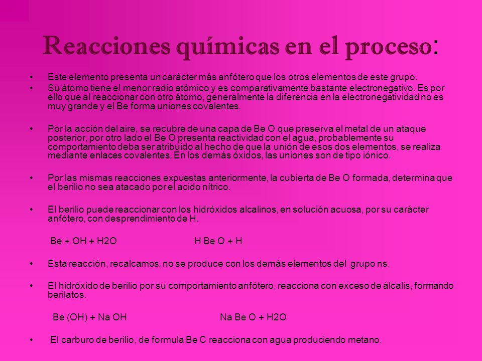 Proceso de obtención del berilio: La obtención del berilio consta en tratar berilio pulverizado con ácido sulfúrico se obtiene sulfato de berilio; est