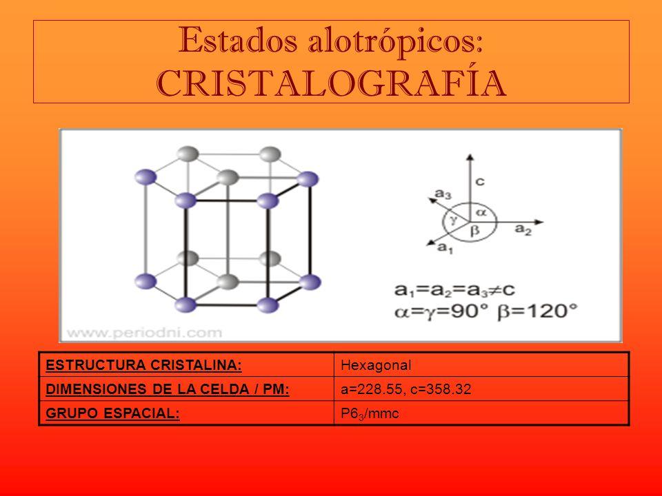 Composición química del berilio. Entalpía de vaporización: 292,40 kJ/ mol Entalpía de fusión: 12,20 kJ/ mol Presión de vapor: 4180 Pa Velocidad del so