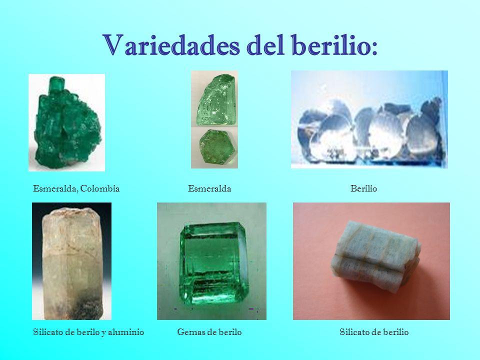 Abundancia : El berilio es un elemento notable posee su resistencia a la tracción y corrosión y su peso ligero. El berilio se encuentra en 30 minerale