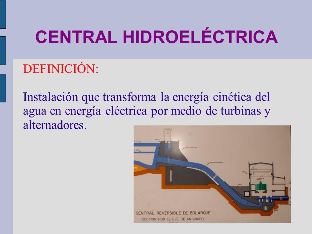 CENTRAL HIDROELÉCTRICA DEFINICIÓN: Instalación que transforma la energía cinética del agua en energía eléctrica por medio de turbinas y alternadores.