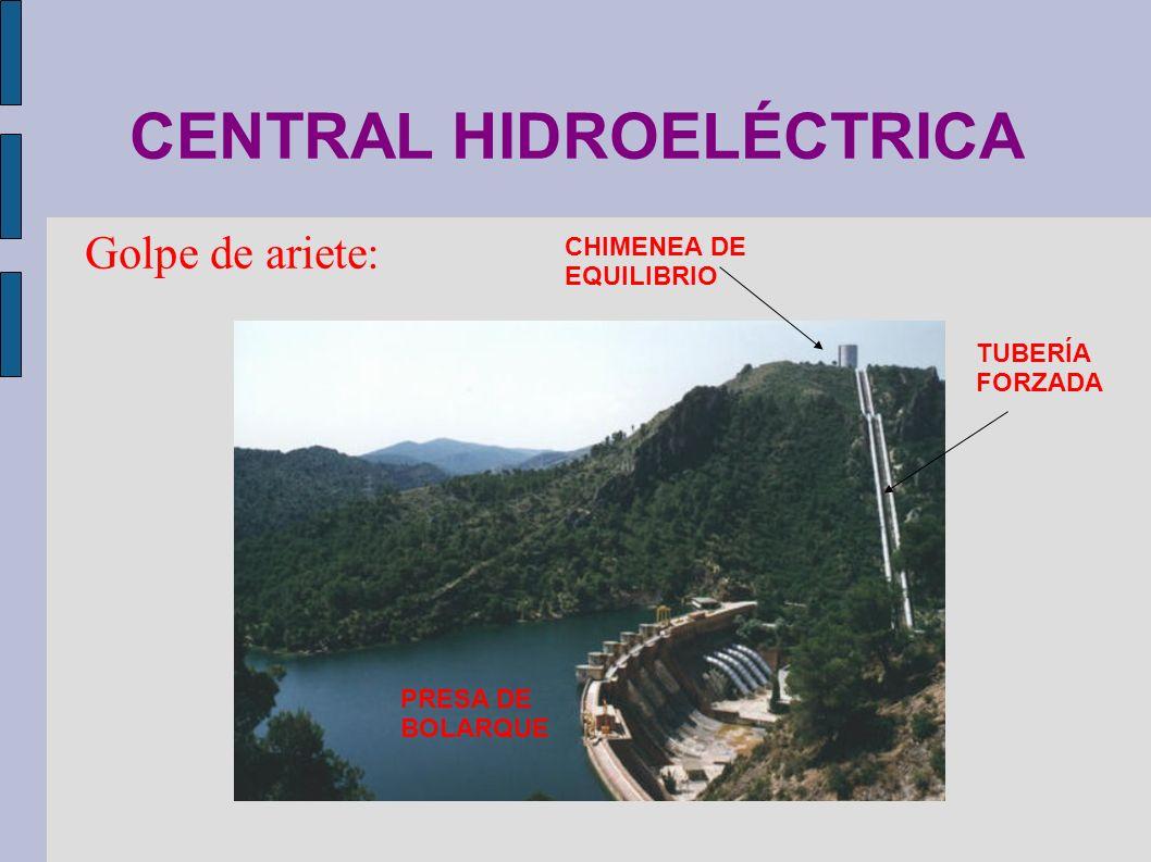 CENTRAL HIDROELÉCTRICA Golpe de ariete: PRESA DE BOLARQUE TUBERÍA FORZADA CHIMENEA DE EQUILIBRIO