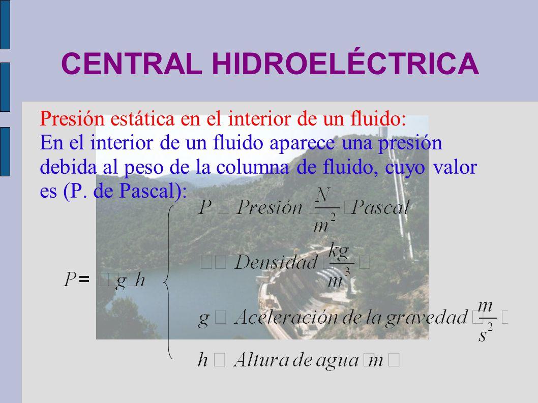 CENTRAL HIDROELÉCTRICA Presión estática en el interior de un fluido: En el interior de un fluido aparece una presión debida al peso de la columna de f