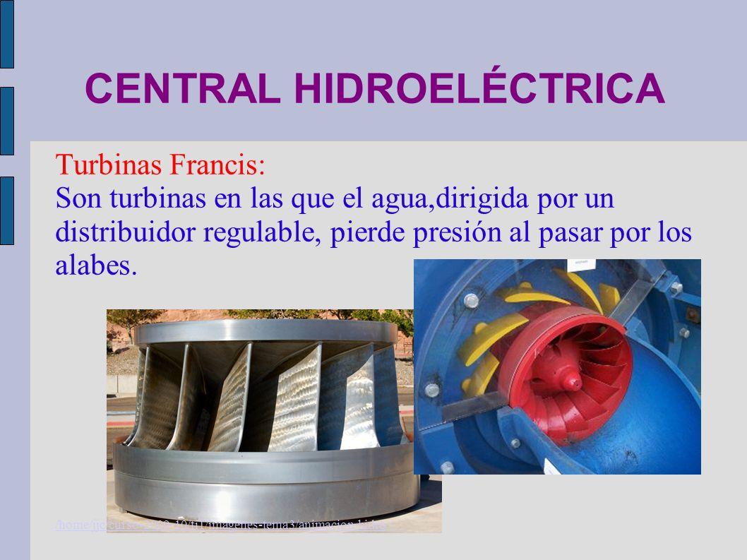 CENTRAL HIDROELÉCTRICA Turbinas Francis: Son turbinas en las que el agua,dirigida por un distribuidor regulable, pierde presión al pasar por los alabe