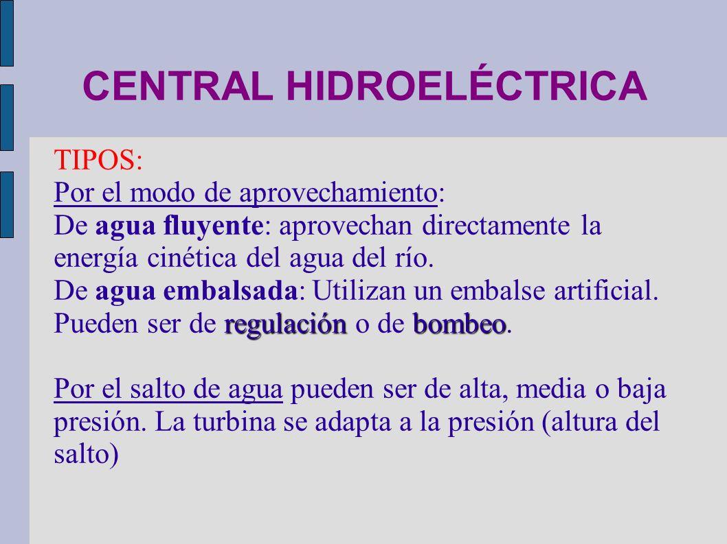 CENTRAL HIDROELÉCTRICA Presión estática en el interior de un fluido: Cuanto mayor es la altura de fluido, mayor es la presión en su interior.