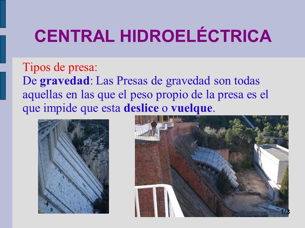 CENTRAL HIDROELÉCTRICA Tipos de presa: De arco: Las presas en arco transmiten el empuje del agua hacia su fundación y sus apoyos, denominados estribos, aprovechando su forma de cúpula o bóveda.