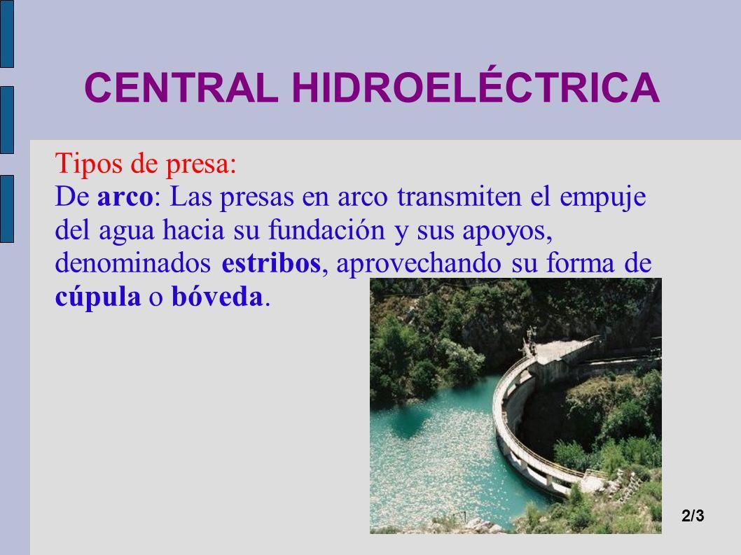 CENTRAL HIDROELÉCTRICA Tipos de presa: De arco: Las presas en arco transmiten el empuje del agua hacia su fundación y sus apoyos, denominados estribos