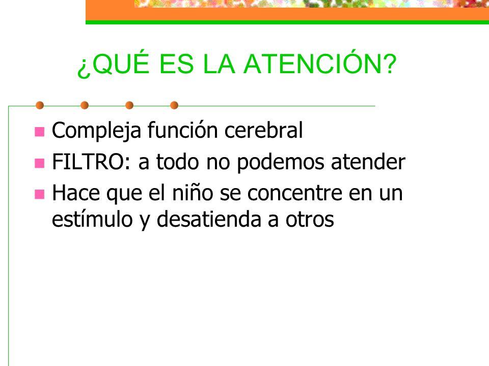 TIPOS DE ATENCIÓN Alerta o Arousal Selectiva Focal Dual Sostenida Inhibición