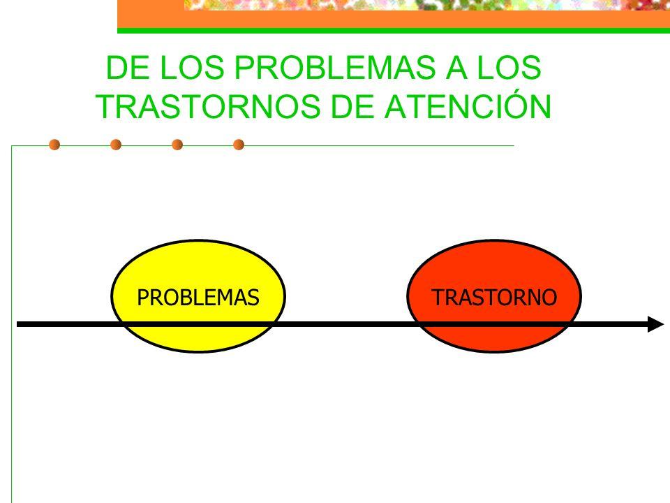 DE LOS PROBLEMAS A LOS TRASTORNOS DE ATENCIÓN PROBLEMASTRASTORNO