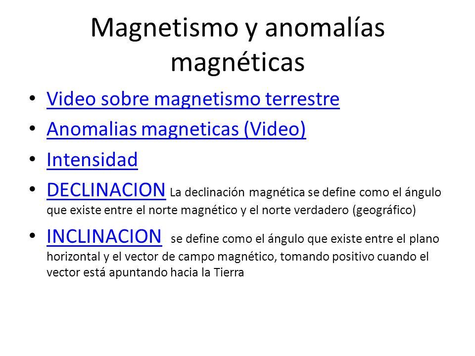 Magnetismo y anomalías magnéticas Video sobre magnetismo terrestre Anomalias magneticas (Video) Intensidad DECLINACION La declinación magnética se def