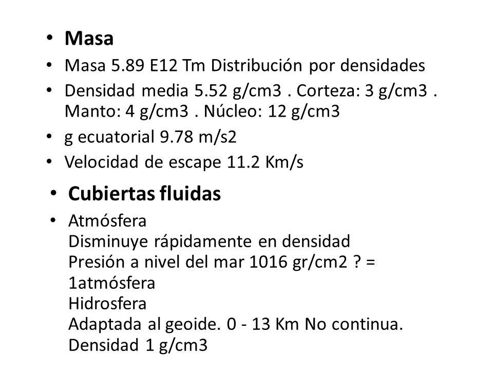 Masa Masa 5.89 E12 Tm Distribución por densidades Densidad media 5.52 g/cm3. Corteza: 3 g/cm3. Manto: 4 g/cm3. Núcleo: 12 g/cm3 g ecuatorial 9.78 m/s2
