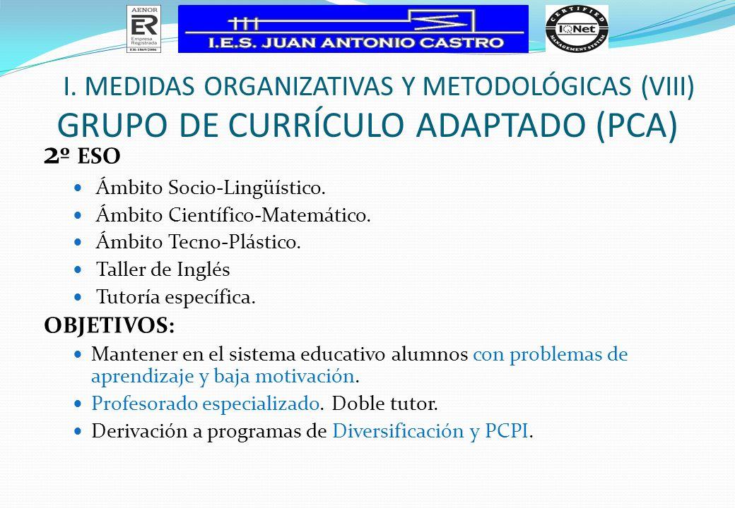 GRUPO DE CURRÍCULO ADAPTADO (PCA) 2 º ESO Ámbito Socio-Lingüístico. Ámbito Científico-Matemático. Ámbito Tecno-Plástico. Taller de Inglés Tutoría espe
