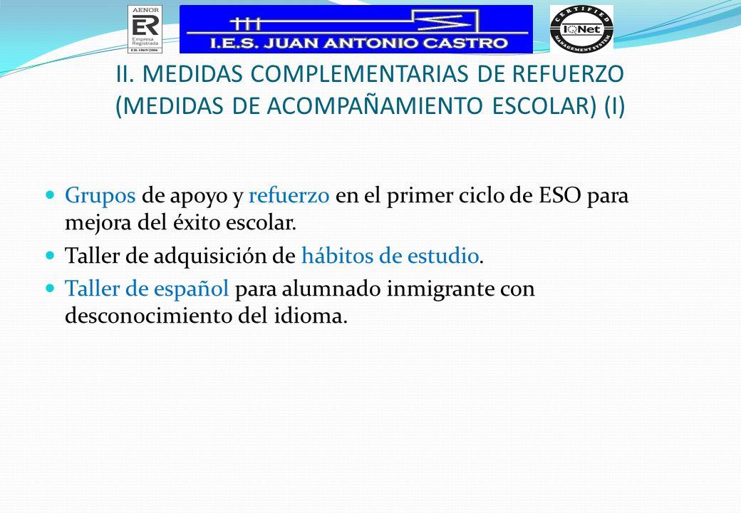 II. MEDIDAS COMPLEMENTARIAS DE REFUERZO (MEDIDAS DE ACOMPAÑAMIENTO ESCOLAR) (I) Grupos de apoyo y refuerzo en el primer ciclo de ESO para mejora del é