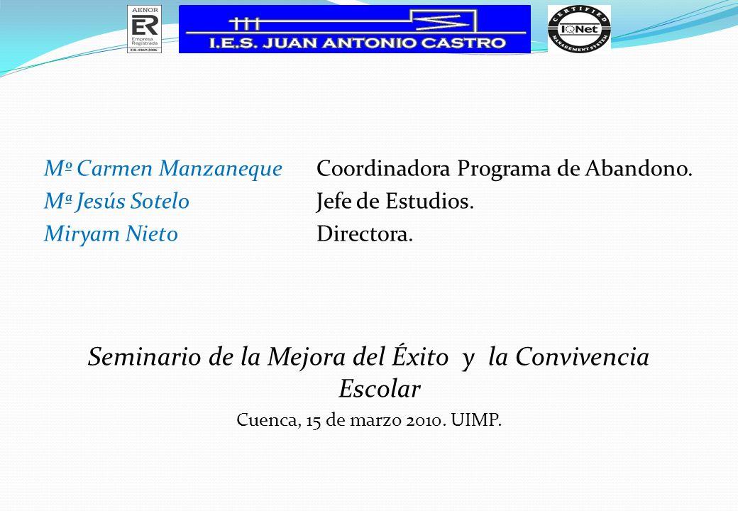 Mº Carmen ManzanequeCoordinadora Programa de Abandono. Mª Jesús SoteloJefe de Estudios. Miryam NietoDirectora. Seminario de la Mejora del Éxito y la C