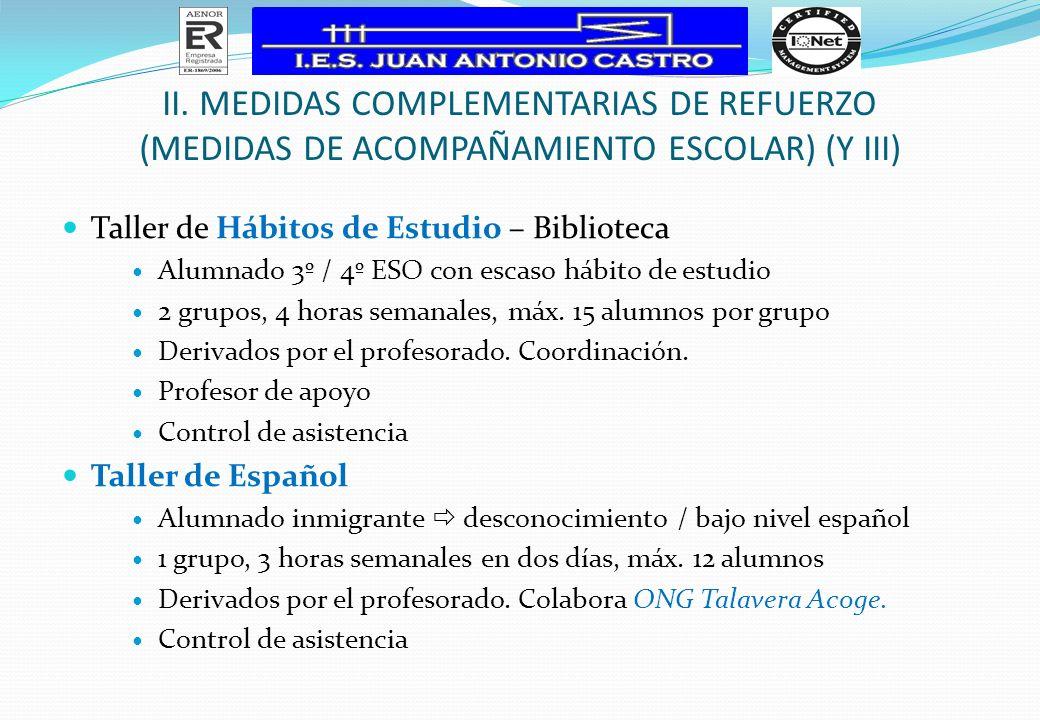 Taller de Hábitos de Estudio – Biblioteca Alumnado 3º / 4º ESO con escaso hábito de estudio 2 grupos, 4 horas semanales, máx. 15 alumnos por grupo Der