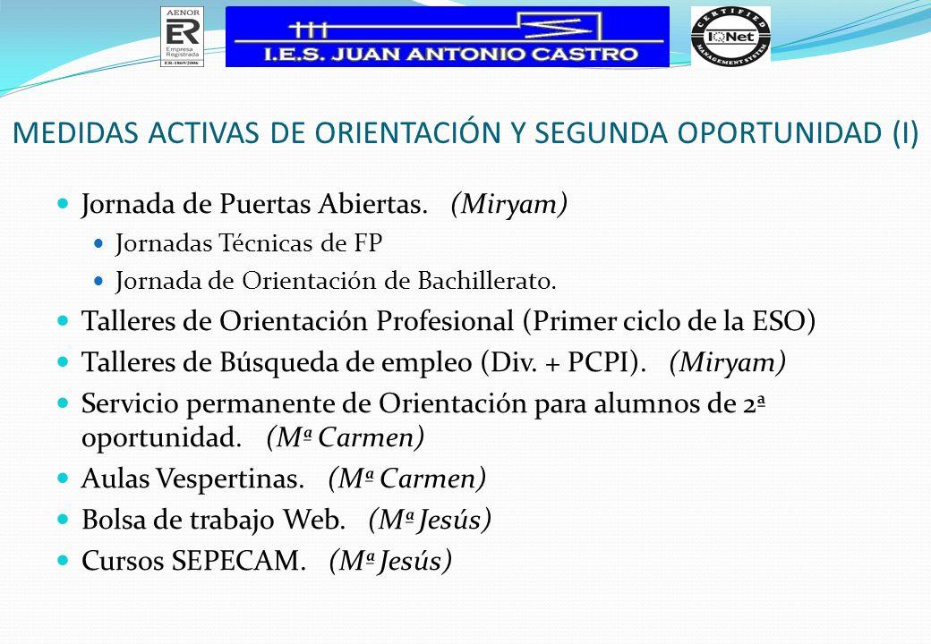 MEDIDAS ACTIVAS DE ORIENTACIÓN Y SEGUNDA OPORTUNIDAD (I) Jornada de Puertas Abiertas. (Miryam) Jornadas Técnicas de FP Jornada de Orientación de Bachi