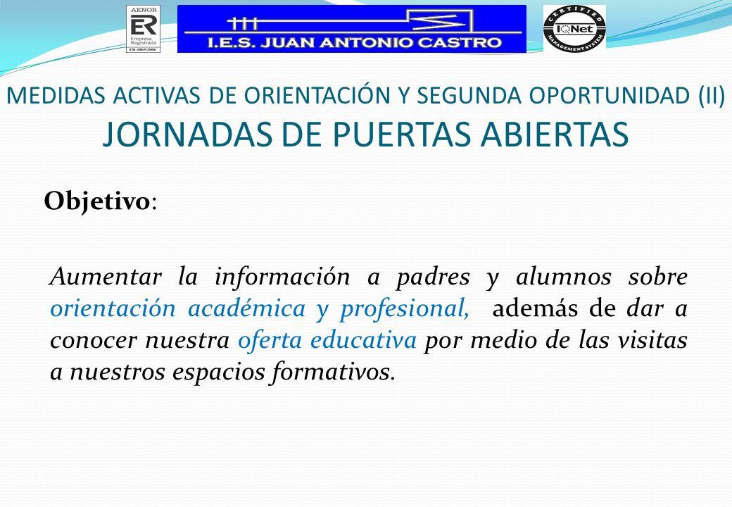 Objetivo: Aumentar la información a padres y alumnos sobre orientación académica y profesional, además de dar a conocer nuestra oferta educativa por m