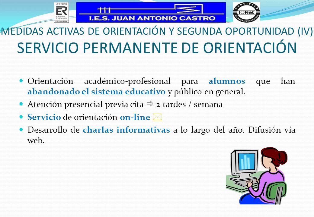Orientación académico-profesional para alumnos que han abandonado el sistema educativo y público en general. Atención presencial previa cita 2 tardes