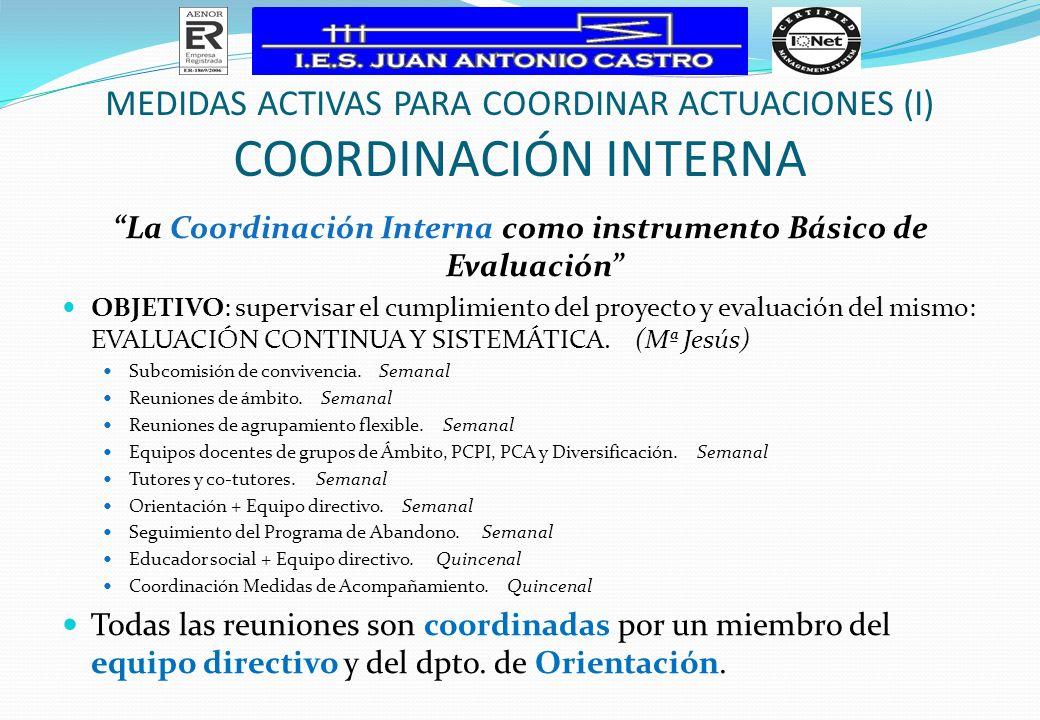MEDIDAS ACTIVAS PARA COORDINAR ACTUACIONES (I) COORDINACIÓN INTERNA La Coordinación Interna como instrumento Básico de Evaluación OBJETIVO: supervisar