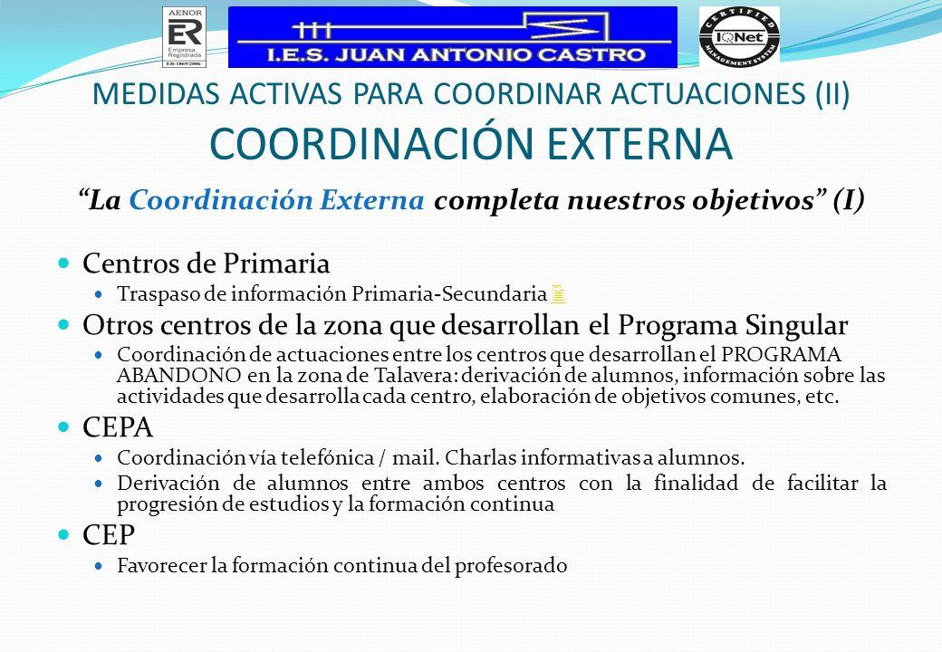 La Coordinación Externa completa nuestros objetivos (I) Centros de Primaria Traspaso de información Primaria-Secundaria Otros centros de la zona que d