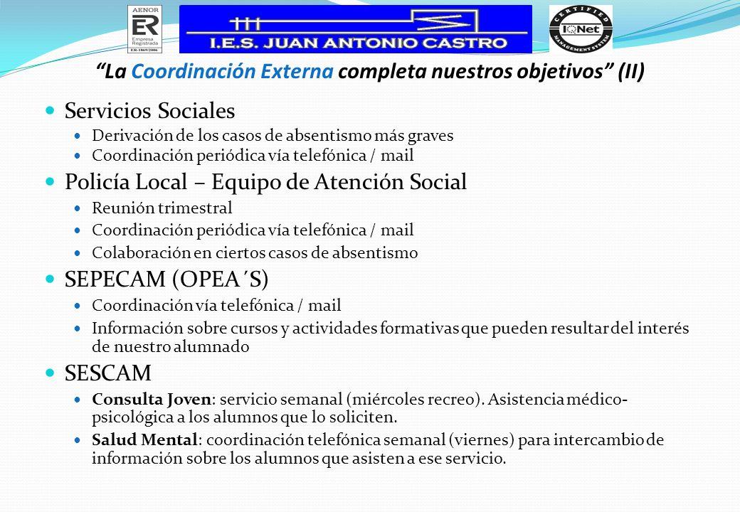 La Coordinación Externa completa nuestros objetivos (II) Servicios Sociales Derivación de los casos de absentismo más graves Coordinación periódica ví