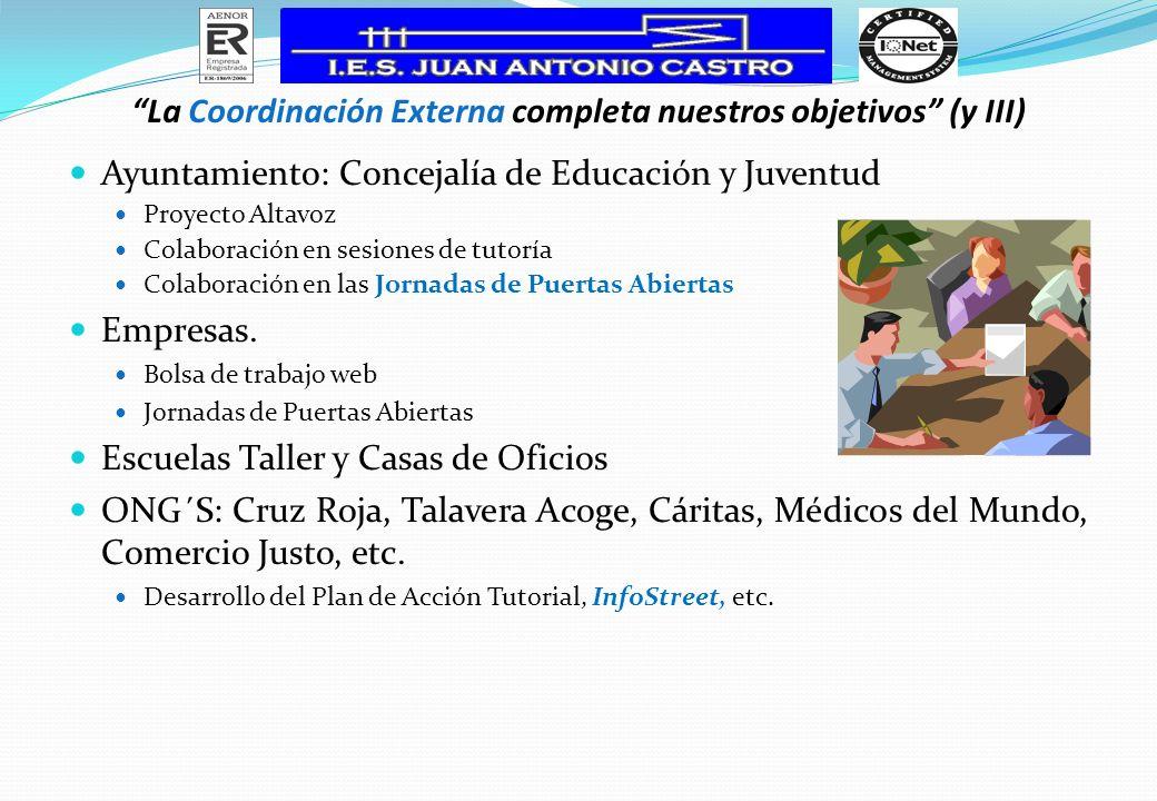Ayuntamiento: Concejalía de Educación y Juventud Proyecto Altavoz Colaboración en sesiones de tutoría Colaboración en las Jornadas de Puertas Abiertas