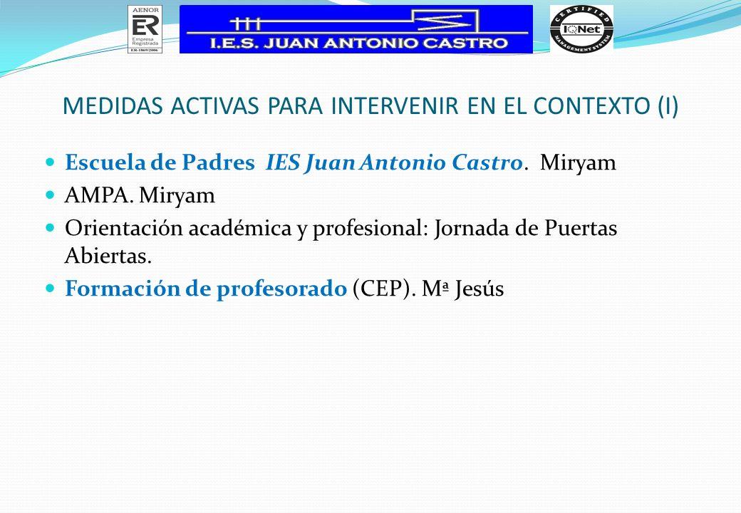 MEDIDAS ACTIVAS PARA INTERVENIR EN EL CONTEXTO (I) Escuela de Padres IES Juan Antonio Castro. Miryam AMPA. Miryam Orientación académica y profesional:
