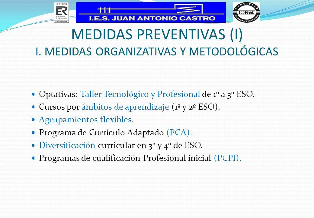 MEDIDAS PREVENTIVAS (I) I. MEDIDAS ORGANIZATIVAS Y METODOLÓGICAS Optativas: Taller Tecnológico y Profesional de 1º a 3º ESO. Cursos por ámbitos de apr