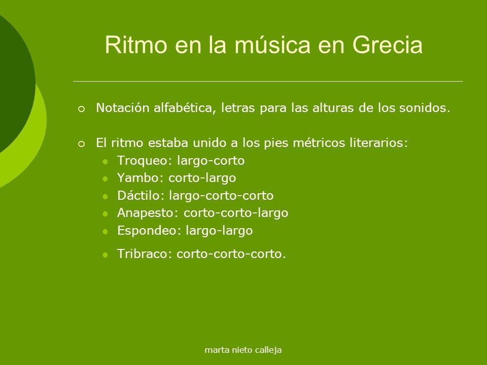 marta nieto calleja Ritmo en la música en Grecia Notación alfabética, letras para las alturas de los sonidos. El ritmo estaba unido a los pies métrico