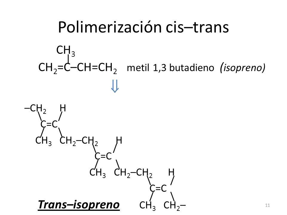 11 Polimerización cis–trans CH 3 | CH 2 =C–CH=CH 2 metil 1,3 butadieno ( isopreno) –CH 2 H \ / C=C / \ CH 3 CH 2 –CH 2 H \ / C=C / \ CH 3 CH 2 –CH 2 H