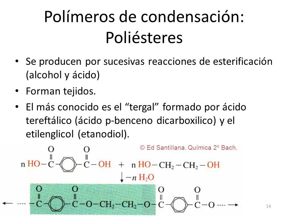 14 Polímeros de condensación: Poliésteres Se producen por sucesivas reacciones de esterificación (alcohol y ácido) Forman tejidos. El más conocido es
