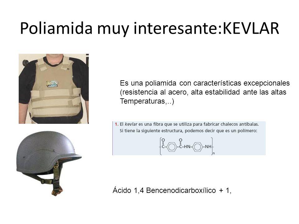 Poliamida muy interesante:KEVLAR Es una poliamida con características excepcionales (resistencia al acero, alta estabilidad ante las altas Temperatura