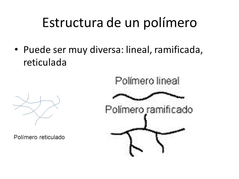 Estructura de un polímero Puede ser muy diversa: lineal, ramificada, reticulada Polímero reticulado