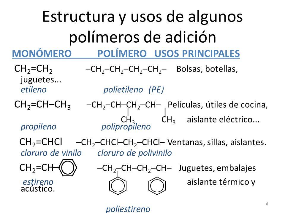 8 Estructura y usos de algunos polímeros de adición MONÓMEROPOLÍMERO USOS PRINCIPALES CH 2 =CH 2 –CH 2 –CH 2 –CH 2 –CH 2 – Bolsas, botellas, juguetes.