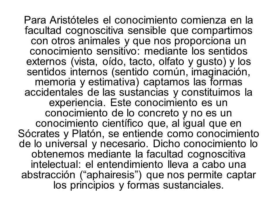 Para Aristóteles el conocimiento comienza en la facultad cognoscitiva sensible que compartimos con otros animales y que nos proporciona un conocimient
