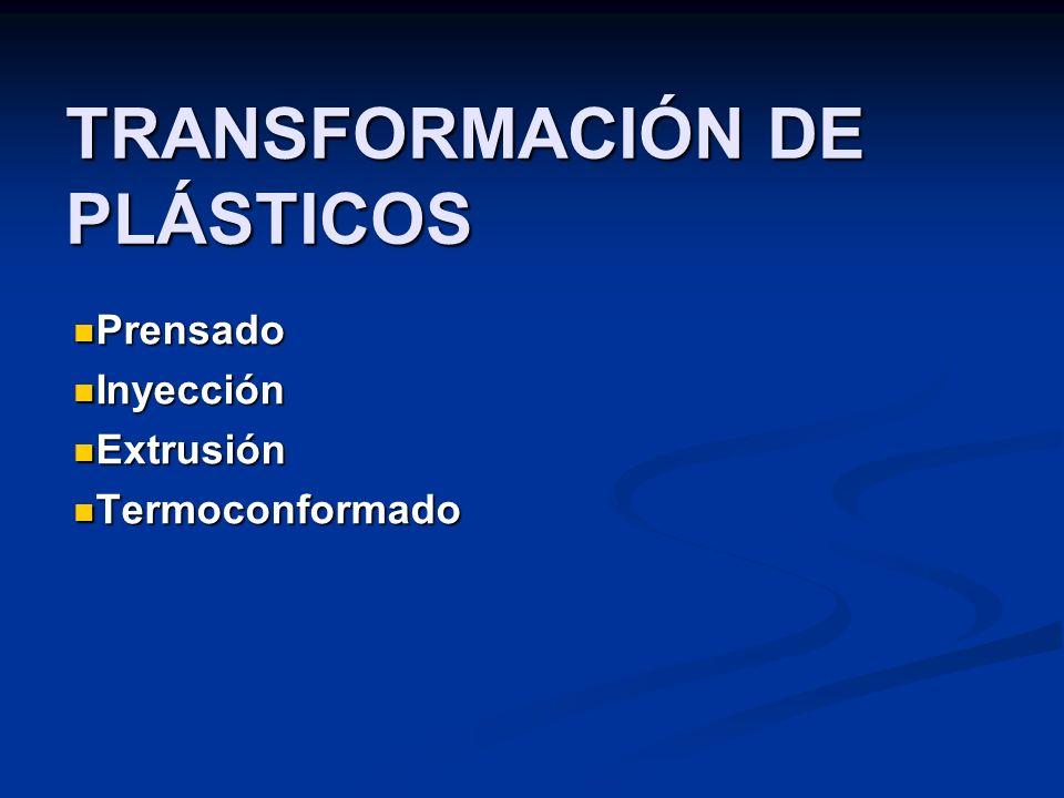 TRANSFORMACIÓN DE PLÁSTICOS Prensado Prensado Inyección Inyección Extrusión Extrusión Termoconformado Termoconformado
