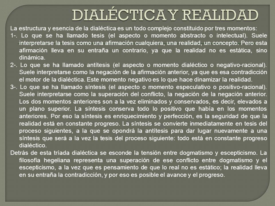 La estructura y esencia de la dialéctica es un todo complejo constituido por tres momentos: 1-. Lo que se ha llamado tesis (el aspecto o momento abstr