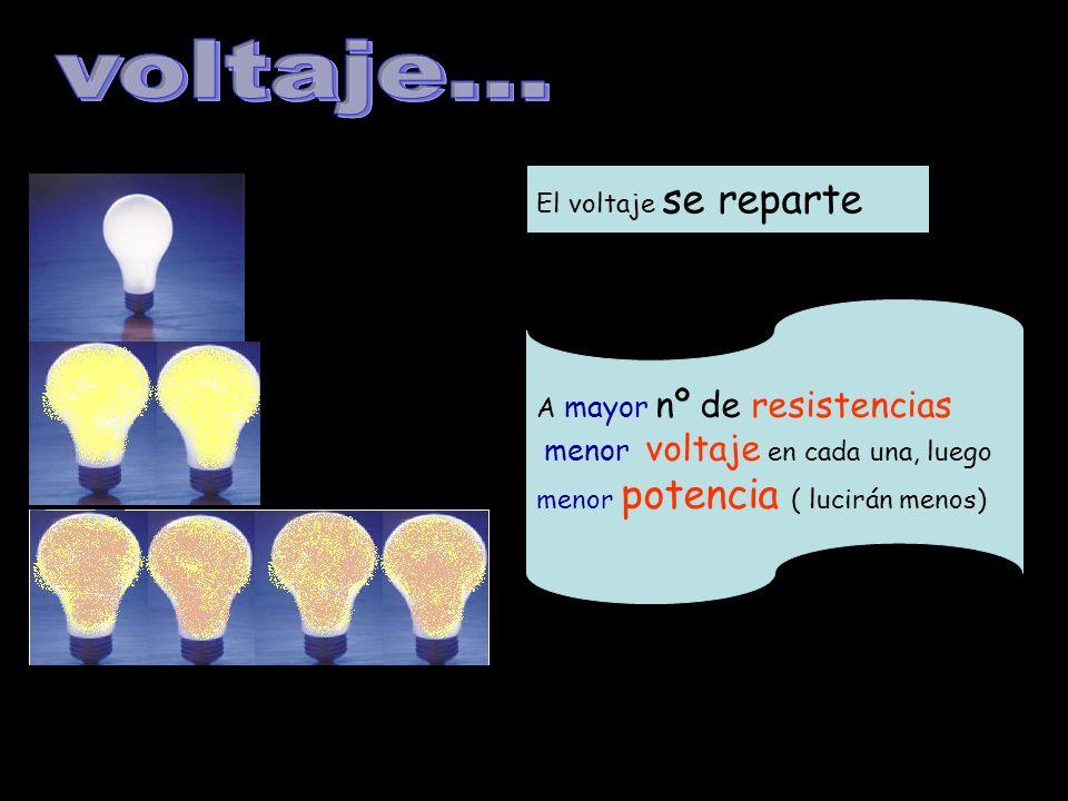 El voltaje se reparte A mayor nº de resistencias menor voltaje en cada una, luego menor potencia ( lucirán menos)