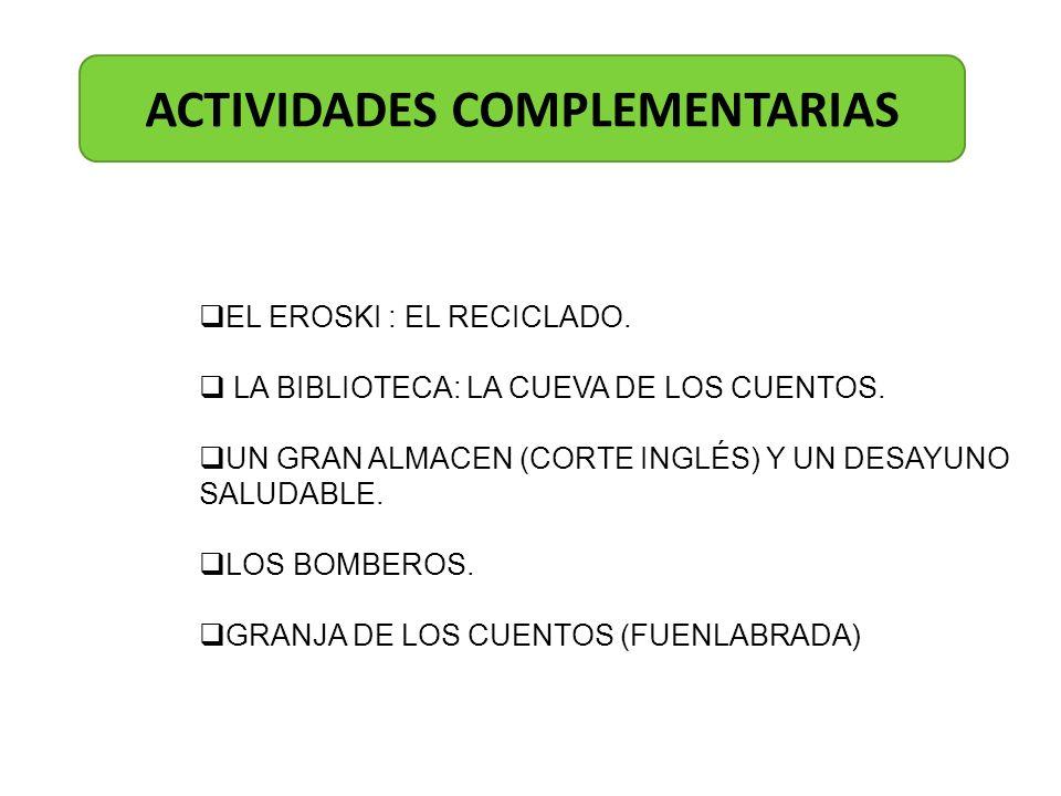 ACTIVIDADES COMPLEMENTARIAS EL EROSKI : EL RECICLADO. LA BIBLIOTECA: LA CUEVA DE LOS CUENTOS. UN GRAN ALMACEN (CORTE INGLÉS) Y UN DESAYUNO SALUDABLE.