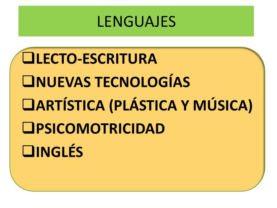 LENGUAJES LECTO-ESCRITURA NUEVAS TECNOLOGÍAS ARTÍSTICA (PLÁSTICA Y MÚSICA) PSICOMOTRICIDAD INGLÉS