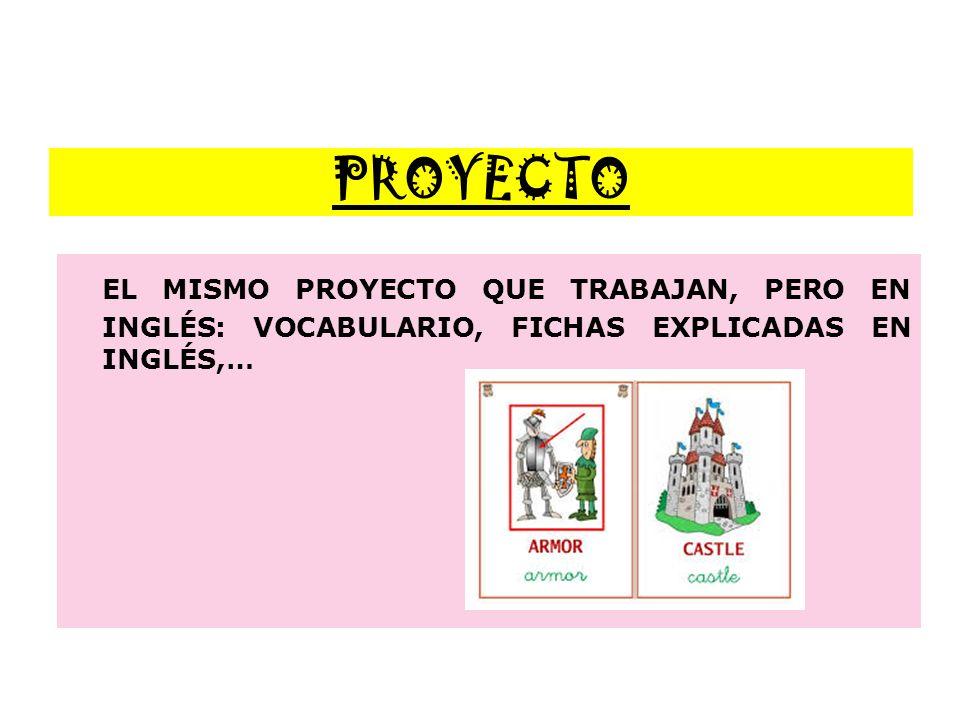 PROYECTO EL MISMO PROYECTO QUE TRABAJAN, PERO EN INGLÉS: VOCABULARIO, FICHAS EXPLICADAS EN INGLÉS,…