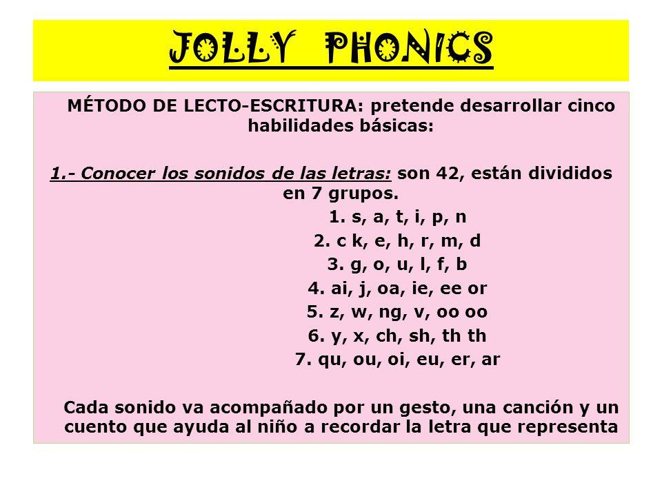 JOLLY PHONICS MÉTODO DE LECTO-ESCRITURA: pretende desarrollar cinco habilidades básicas: 1.- Conocer los sonidos de las letras: son 42, están dividido