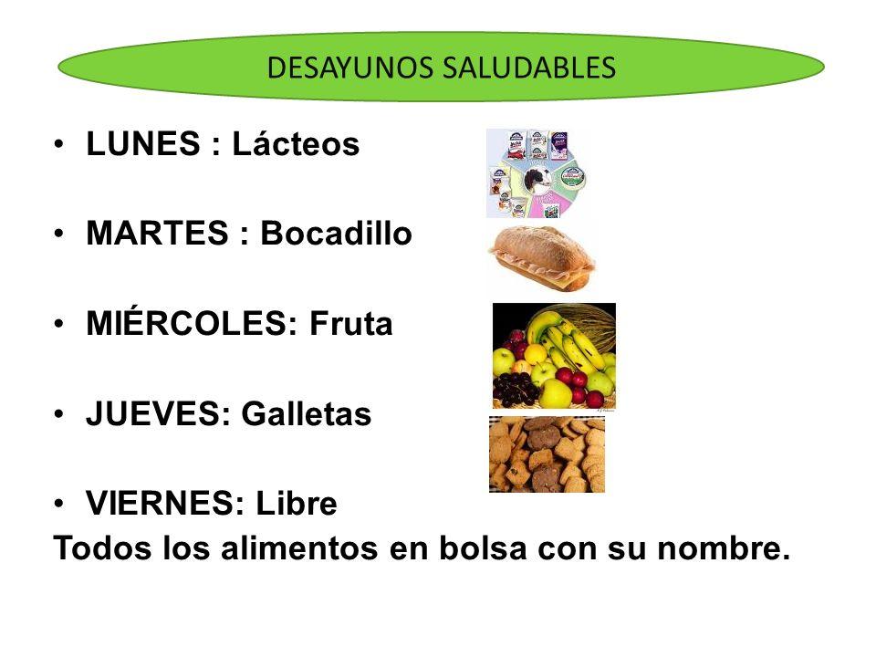 LUNES : Lácteos MARTES : Bocadillo MIÉRCOLES: Fruta JUEVES: Galletas VIERNES: Libre Todos los alimentos en bolsa con su nombre. DESAYUNOS SALUDABLES