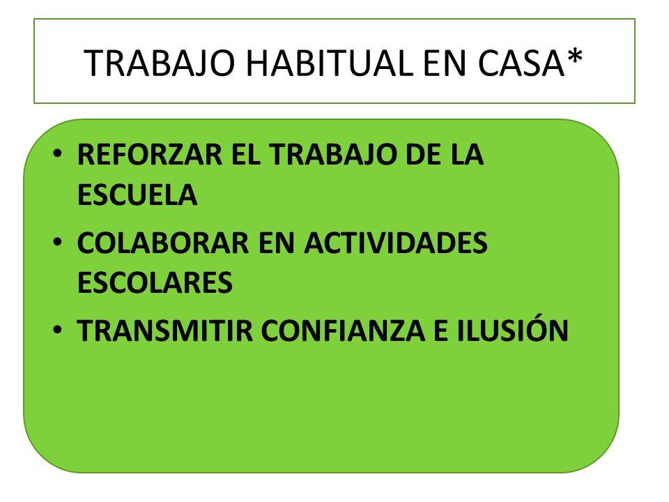 TRABAJO HABITUAL EN CASA* REFORZAR EL TRABAJO DE LA ESCUELA COLABORAR EN ACTIVIDADES ESCOLARES TRANSMITIR CONFIANZA E ILUSIÓN